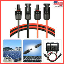 1 Pair Black + Red Solar Panel Extension Cable Wire with Connector 10 AWG/12 AWG