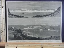 Rare Antique Original VTG 1884 Icebergs Newfoundland Hayward Engraving Art Print