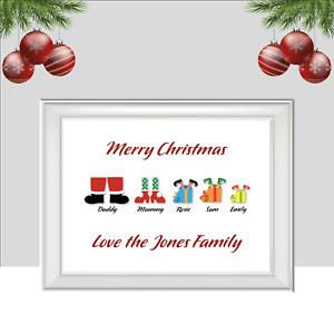Personalised Christmas Family Print, Selfie Xmas Poster, Gift Festive Home Decor