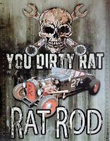 PLAQUE METAL USA  vintage YOU DIRTY RAT ROD   40 X 30 CM