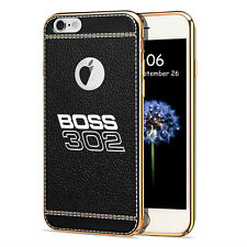 iPhone 7 Case, Ford Mustang Boss 302 TPU Black Soft Leather Pattern