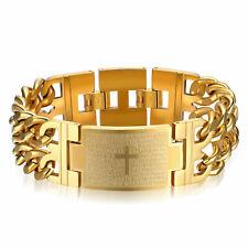Edelstahl Herren Armband Massiv Panzerarmband Armkette Panzerkette Kreuz Gold