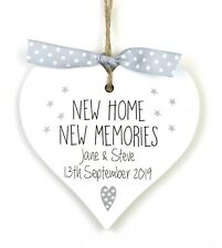 Personalised New Home Housewarming Gift Heart Plaque Sign Moving Memories House