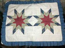 2 Quilted Blue White Pillow Shams Cover Blue White Star 23'' x 30'' Standard