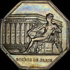 1866 FRANCE JETON-MEDAL PARIS STOCK EXCHANGE, SEATED MERCURY, CHOICE B.U. SILVER