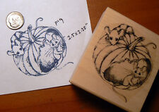 "P19 Thanksgiving Mice rubber stamp WM 2.5x2.4""  P19"
