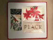 3 Heirloom Holiday Decorative Glass Trays By Fringes Nib