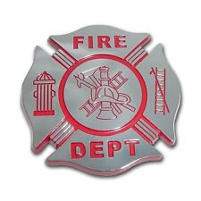 Firefighter Red and Chrome Car Auto Truck Emblem (NEW)
