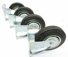"""5"""" (125mm) Rubber Fixed Castor Wheels Trolley Furniture Caster (4 Pack) RM011"""