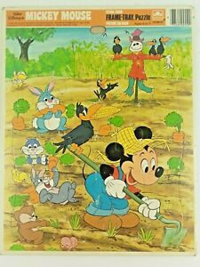 Vintage Disney's Mickey Mouse & Farm Friends Golden Frame Tray Puzzle 1985