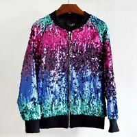 Fashion Womens Sequins Gradient Color Bomber Jacket Bling Baseball Biker Outwear