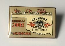 HARLEY DAVIDSON OWNERS GROUP HOG 2005 OKLAHOMA STATE RALLY PIN LAPEL VEST HAT