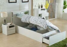Swansea King Single Gas Lift 2 piece Bedroom suite 1 x Bedside chest Gloss White