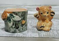 Salt and Pepper Shakers - Baby Bear Sitting On Tree Stump - Vintage Set - Japan