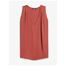 Express Top Pleated Shoulder V-Neck Tank Shirt Blouse Coral Medium