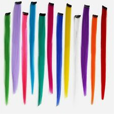 """12PCS 20"""" Clip in Hair Extensions Synthetic Straight Multi Color Clip Hairpieces"""