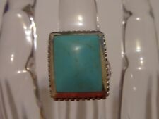 TURQUOISE SIGNED 925 THAI RING SIZE 7 1/4 STERLING SILVER TESTED WAS $50