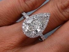 2.00 Ct Pear Cut Tear drop Diamond Halo Round Cut Engagement Ring D,VS2 GIA 18K