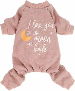 Fitwarm I Love You to The Moon and Back Paw-Some Sleeper  Dog Pajamas Thermal
