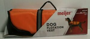 Dog Flotation Vest (Medium) Up To 55.11 lbs Safety Orange Reflective Water