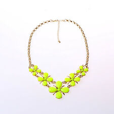 FREE SHIPPING FOR ORDER>=$15 Gold plated chain Citron flower bib necklace