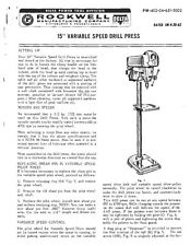 "Delta Rockwell 15"" Variable Speed Drill Press Instructions"