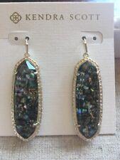 New KENDRA SCOTT Lauren Earrings Crushed Abalone Shell Gold Tone RETIRED