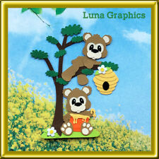 HONEY BEARS IN TREE Embellishment card toppers scrapbooking