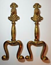 PAIR OF VINTAGE SOLID BRASS FIRE DOGS - ANDIRON LEGS - KNIGHTS