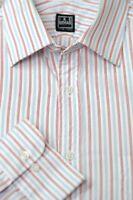 Ike Behar Men's White Red & Blue Stripe Cotton Dress Shirt 16 x 35