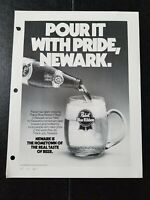 "1983 Pabst Blue Ribbon Beer Ad Slick ""POUR IT WITH PRIDE NEWARK."""
