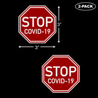 STOP SIGN COVID Sticker 19 Warning Prevention Flu Virus Pandemic 2-PACK