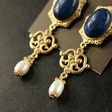 Boucles d'Oreilles Perle de Culture Baroque Gros Blanc Lapis Lazuli Bleu XX 1