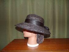 Vintage Ladies Civil War Reenactor Fashionable Black Straw Hat with Ribbon