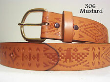 New Southwest Indian Tooled Belt Leather Size Small only 30-32 Last one!