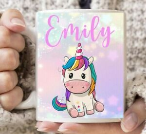 Personalised Any Name Cute Unicorn rainbow Kids Children's Coffee Mug Gift