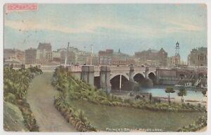 VICTORIA -Princes Bridge, Melbourne postcard, used 1906 Melbourne-Hobart.