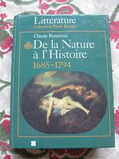 1986 De la nature à l'histoire 1685-1794 Rommeru  philosophie