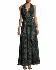 HALSTON HERITAGE - NEW rrp $955 Women's Dress Size 10 US 6 Silk Halter Neck Maxi