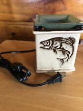 Scentsy Angler Fly Fishing Fish Hook Full Size Wax Warmer Rustic Cabin Retired