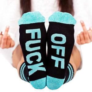 Women Men Fashion Fuck-off Funny Socks Sports Cotton Casual Long Socks blue a