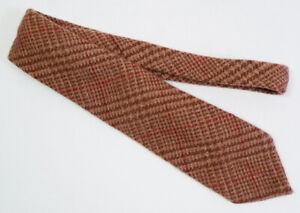 Vintage Polo Ralph Lauren Brown Glen Plaid Handmade Heavy Wool Tie