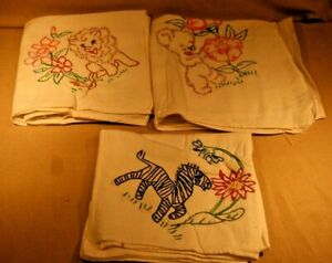 3 Vintage Embroidered Dish Towels