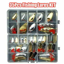 35Pcs Fishing Lures Pike Trout Bass Spoons Spinners Bait Metal Tackle Sheet Kit