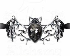 Viennese Nights Black Ribbon Bracelet Ornate Crystal Bat Alchemy Gothic A108