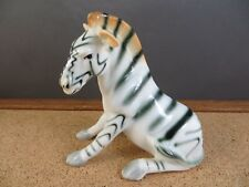 Vintage Black & White Brown Zebra Sitting Porcelain Bone China Animal Figurine