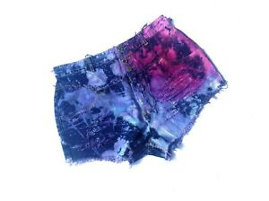 High Waist Shorts, Size 15/16, Distressed, Destroyed, Frayed, Purple Hues