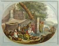 L.HALBOU(1730-1809), Campierende Familie in antiker Ruine,1781, Kol. Kupferstich