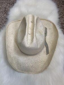Western Trails Men's Ivory Straw Cowboy Hat Size 7 1/2 Vintage Wide Brim GUC