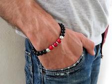 Bracciale UOMO perle pietre stone Giada NERO ROSSO sfere palline per lui regalo